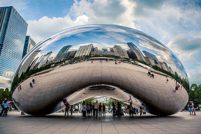 "Cloud Gate, Chicago ~   aka  ""the Magic Bean""Buckets Lists, Favorite Places, Millenium Parks, Clouds Gates Chicago, Beans Clouds, Art3D, Incr Places, Mr. Beans, Gates Aka"