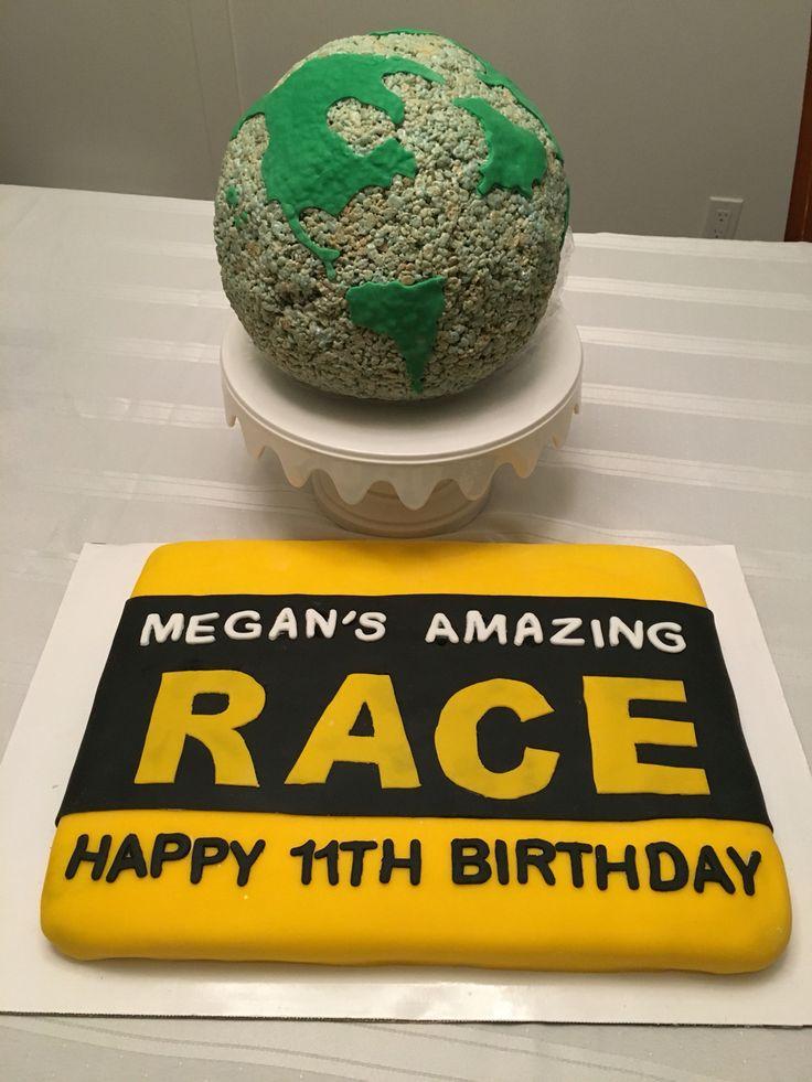 Amazing Race clue envelope cake and Rice Krispie globe