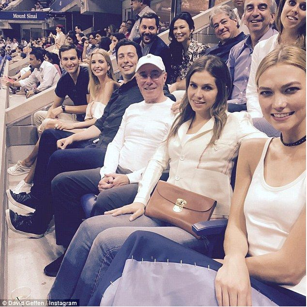 Pals: Karlie and Beatrice did not first meet at the party. The two were spotted at the U.S. Open Tennis Championships last week, in a photo shared on Instagram by David Geffen