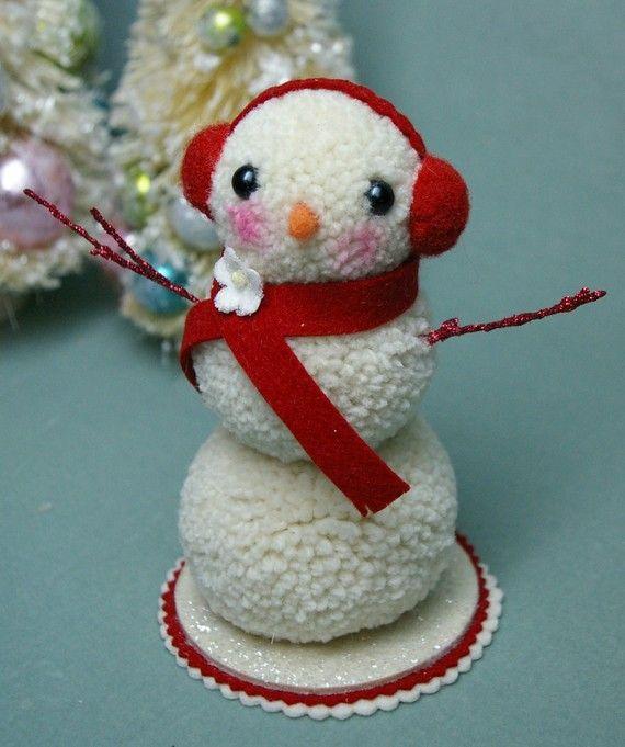 Bonhomme des neiges en pompons