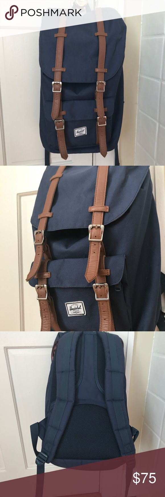 """Navy Herschel Backpack Large, in great condition! Can hold up to a 15"""" MacBook   Has computer sleeve. Great for school, traveling and everyday use! Normally $120 Herschel Supply Company Bags Backpacks"""