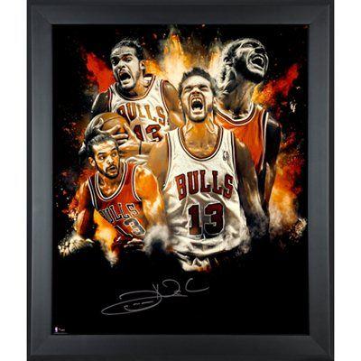 Autographed Chicago Bulls Joakim Noah Fanatics Authentic Framed 20'' x 24'' Splatter Collage Photograph - Limited Edition of 30 - NBA Store Exclusive
