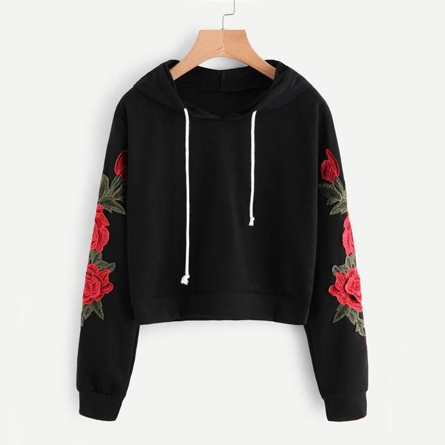 ROMWE Embroidered Rose Applique Sleeve Hoodie 2018 Autumn Long Sleeve Casual Pullovers 2018 Women Black Sweatshirt