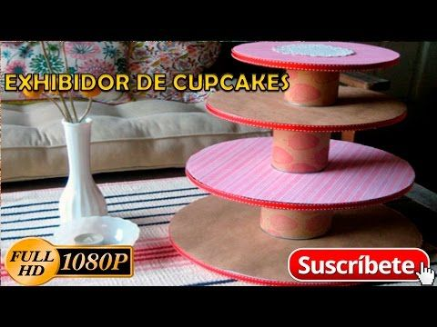 Exhibidor de Cupcakes Reciclado - Tutorial - YouTube