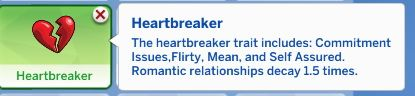 Heartbreaker Trait by Manic Pinkie Pie at Mod The Sims • Sims 4 Updates