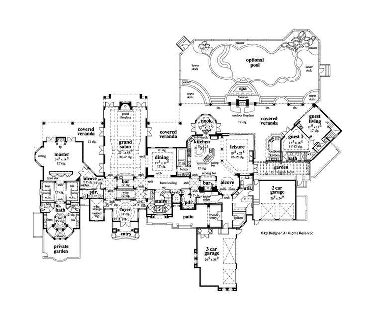35 migliori immagini luxurious floor plans su pinterest for Rimodellare i piani per la casa in stile ranch