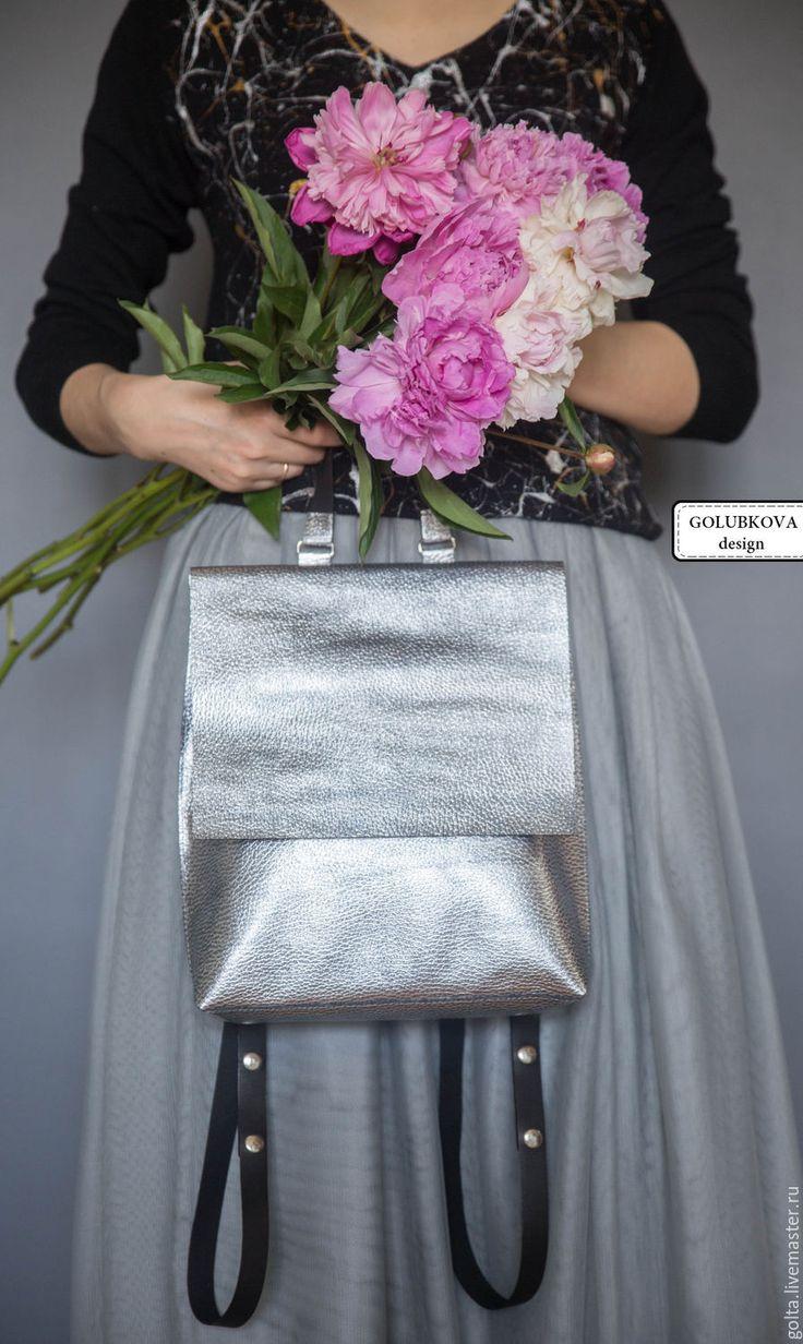 """Купить Рюкзачок """"Сильвер"""" - рюкзак, рюкзачок кожаный, женский рюкзак, городской рюкзак, серебряный, серебристый"""