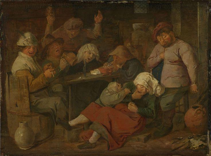 Adriaen Brouwer | Peasant Drinking About, Adriaen Brouwer, 1620 - 1630 | Boerendrinkpartij. Herberginterieur met groep drinkende, rokende en zingende boeren rond een tafel. Op de voorgrond is een dronken boerin in slaap gevallen, een huilend kind trekt aan haar arm. Een boer links zit in een ton en stopt een pijp, rechts aan tafel steekt een ander zijn pijp met een vuurtest aan.