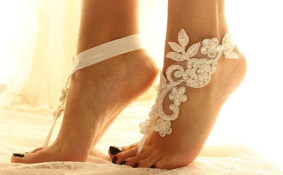 White Lace ,Barefoot Sandals,Nude Shoes, FootJewelry,Beach Wedding, Barefoot Sandals,Lace  Wedding Shoes,Wedding Anklet,White Lace Shoes