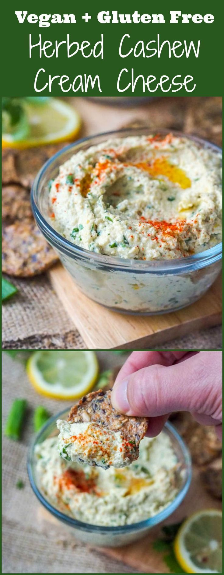 Six ingredient vegan cream cheese that is herb flavored with scallions and cilantro. GF + Paleo too. Makes for a perfect spread or dip for crackers. The best vegan cheese alternative that is also home made from natural ingredients! A family favorite! #vegan #glutenfree #creamcheese #vegancheese #paleo