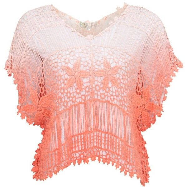 Cameo Rose Coral Ombre Crochet Batwing Top ($26) ❤ liked on Polyvore