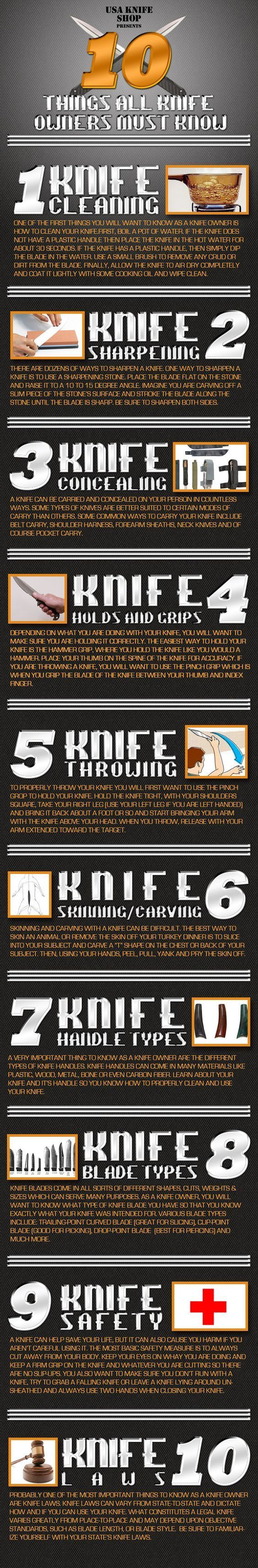 10 Knife Tips Every Knife Owner Should Know.   http://www.thegoodsurvivalist.com/if-all-you-knew-were-these-10-knife-tips-youd-know-way-more-than-most-knife-owners/