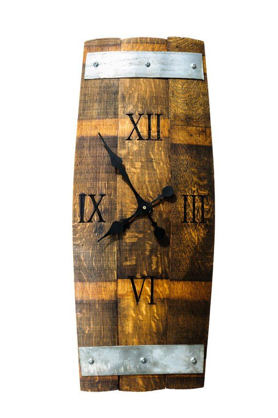 Reclaimed Wine Barrel Three Staves Wall Clock