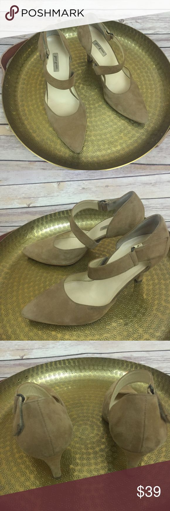 Paul Green tan suede pointed toe heels, 6.5 These Paul Green tan suede pointed toe pumps are in good preowned condition and have a Velcro strap closure.  They are a size 6.5. Paul Green Shoes Heels