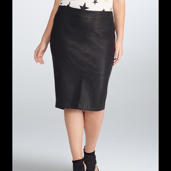 Rebel Wilson Leather Pencil Skirt NWOT This skirt is brand new! Size 12!!! Which is a torrid 0x!  Worn once to try on and never got around to wearing it. It is stretchy fabric in the back with a microphone zipper! The perfect touch of edge or sexiness to any date night or office wardrobe. torrid Skirts Pencil