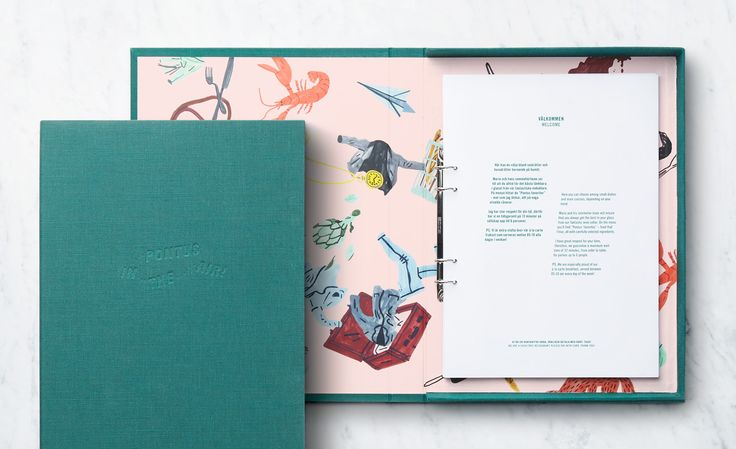 Brand identity and menu by Stockholm-based Bold featuring illustration by Klara Persson for Arlanda Airport restaurant Pontus In The Air