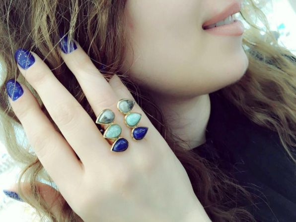 [#FanFriday] Love Armine Gharibyan in Isharya Temple Muse lapis multi stone ring. Thanks for sharing!