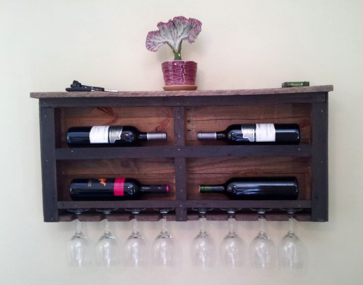 Reclaimed Pallet Wood Wine Rack with Red LED Lights by CedarOaks