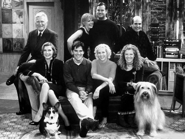"Mitchell Ryan, Susan Sullivan, Thomas Gibson, Shae D'Lyn, Joel Murray, Jenna Elfman, Mimi Kennedy and Alan Rachins in ""Dharma and Greg""."