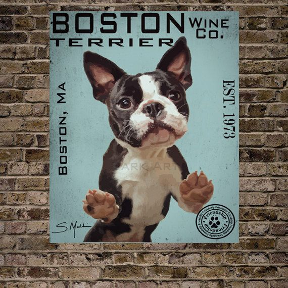 Boston+Terrier+Wine+Co.Print+16x20See+last+by+BarkArtPortraits,+$40.00