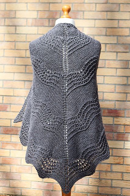 Old Shale Shawl - free pattern by Amanda Clark. Knit in one piece from top down. Uses US 10 (6mm) needles.