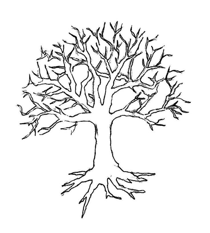 дерево с корнями рисунок шаблон распечатать можно