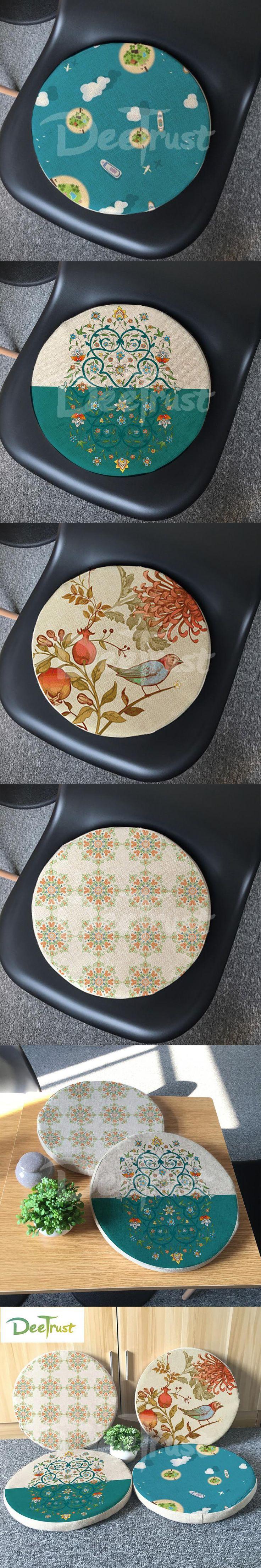 Japanese Cotton Linen Futon Round Seat Cushion Thick PP Cotton Balcony Window Pillow Flower Bird Tatami Washable Cojines Silla