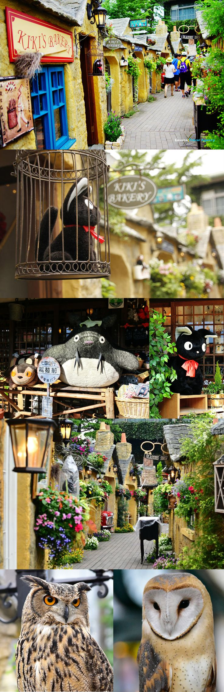Yufuin Floral Village with adorable Kiki's Delivery Service Bakery and owls! // Yufuincho, Yufu, Oita Prefecture, Japan