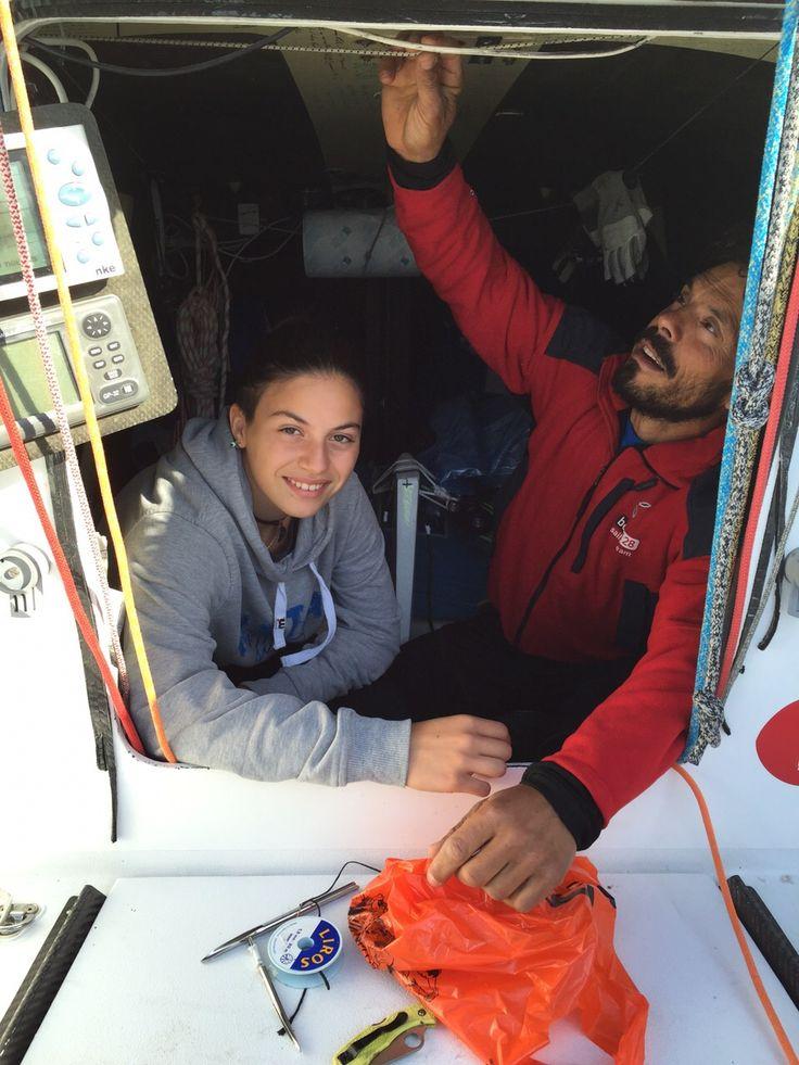 Gaetano e la figlia Marta su Ilumia prima della partenza della RoundSardiniaRace