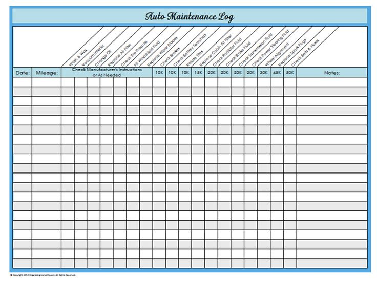 31 Days of Home Management Binder Printables: Day #23 Auto Maintenance Log