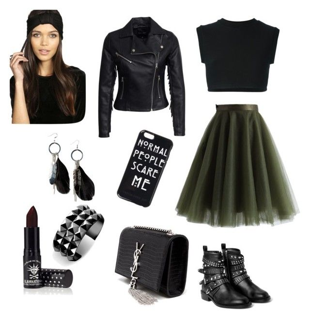"""""""Dark"""" by iulia-sarbu ❤ liked on Polyvore featuring Chicwish, adidas Originals, New Look, MANGO, Yves Saint Laurent, Boohoo, Waterford and Manic Panic"""