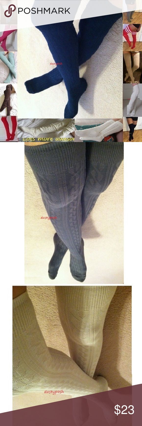 """Cable Knit Thigh High Over The Knee Socks Boot OTK Long cable knit thigh high socks. Soft, cute and versatile, can be worn over the knee or scrunched down. Approximately 22"""" from heel to top, 7"""" from heel to toe. These light weight socks look great cuffed and are still long enough to be worn comfortably over the knee. This listing is for one pair, choose from antique white, beige, navy blue or black. Not HUE brand, just had to pick a brand for listing purposes. if you're interested in other…"""