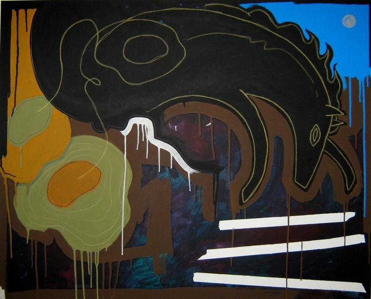 """andrea mattiello """"visione notturna""""    acrilico e pastello; cm 100x80; 2011 #andreamattiello #mattiello #arte #art #contemporaryart #italianartist #artista #artistaemergente #acrilico #tela #tecnicamista #acrylic #canvas #collage"""