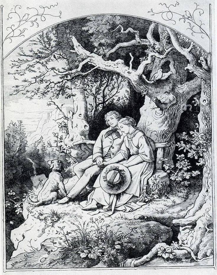 Ludwig Richter Liebesglück 1857 Illustration zu Schillers Lied von der Glocke