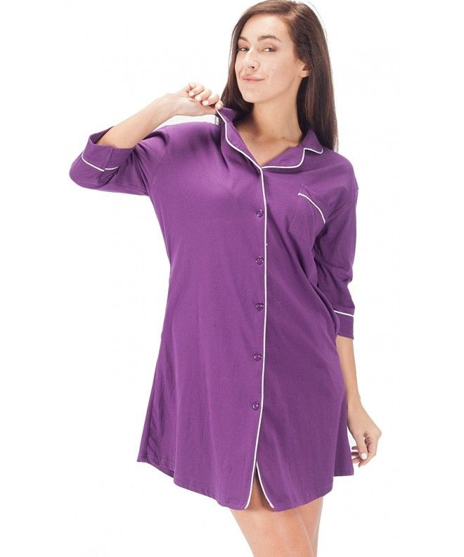 0f86c8a4db Womens Sleepwear Boyfriend Sleep Dress Shirt 3 4 Long Sleeve Cotton  Nightshirt - Purple - CE180MAMIQI