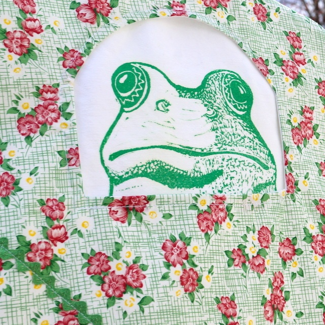 Pretty Floral with block printed frog