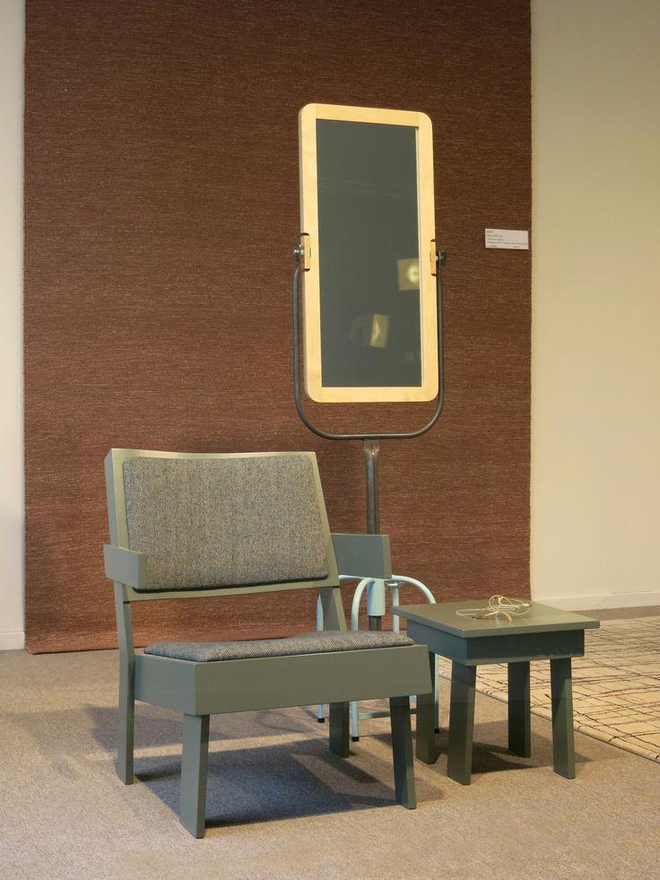 furniture chair, jobtom mirror     TOM FRENCKEN     shop window expo at vanCaster in Mechelen, Belgium. 2014