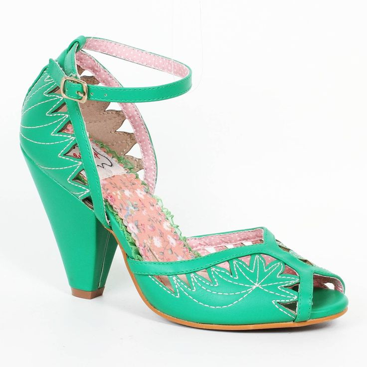 Bettie Page Willow Shoes - Green | US sizes 6, 7, 8, 9, 10, 11