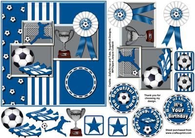 Blue n White Football on Craftsuprint designed by Janyce Cotterill - Great design for the footie fanatic who supports a team who play in blue and white or just enjoys playing or watching the beautiful game! One main layer to add to the main card front, then extra items to layer on top, plus a few extra brad embellishments for you to use as you wish on the design, envelope or insert.The trophy has the word Champion on and No.1 You have a choice of three greetings or use the blank on the card…