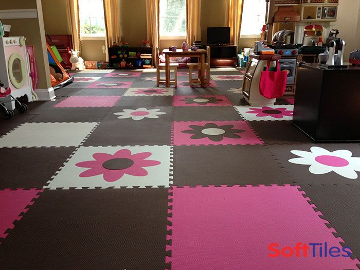 Fun Girls Playroom Floor Using SoftTiles Flower Foam Mats  D149