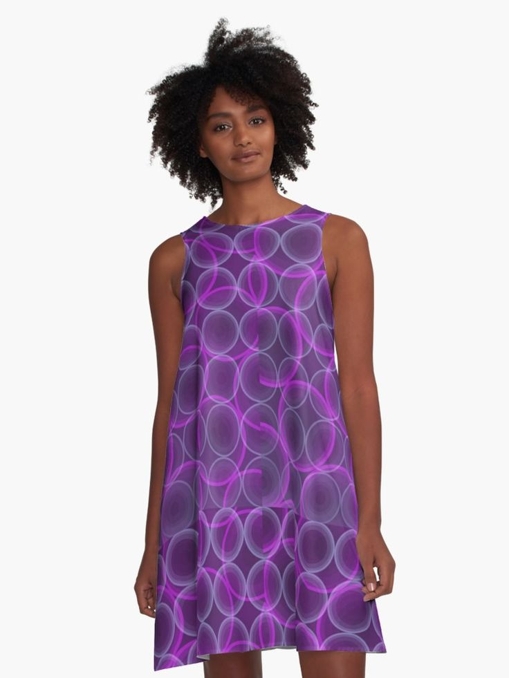 Purple pattern with SciFi style and vivid colors A-Line Dress by Scar Design • Also buy this artwork on apparel, stickers, phone cases, and more. #dress #fashion #style #giftsforher #family #women #woman #alinedress #modern #redbubble #scardesign #art #artist #shopping #online #clothing #modern #pattern #purple