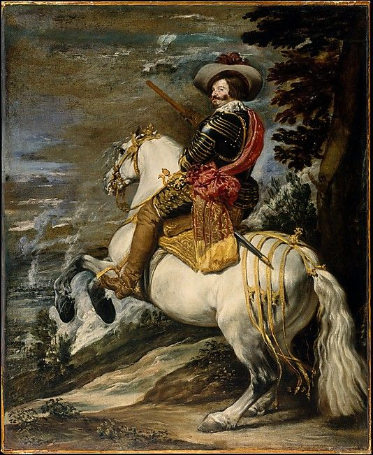 Velázquez (Diego Rodríguez de Silva y Velázquez) (Spanish, 1599–1660). Don Gaspar de Guzmán (1587–1645), Count-Duke of Olivares, ca. 1635. The Metropolitan Museum of Art, New York. Fletcher Fund, 1952 (52.125) |  In full armor and holding a baton, the Count-Duke of Olivares is shown as a victorious commander. His horse holds a dressage position known as a levade. #mustache #movember
