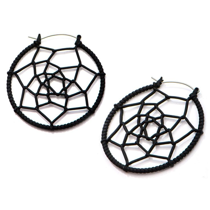 Black Web Tunnel Hoop Earrings