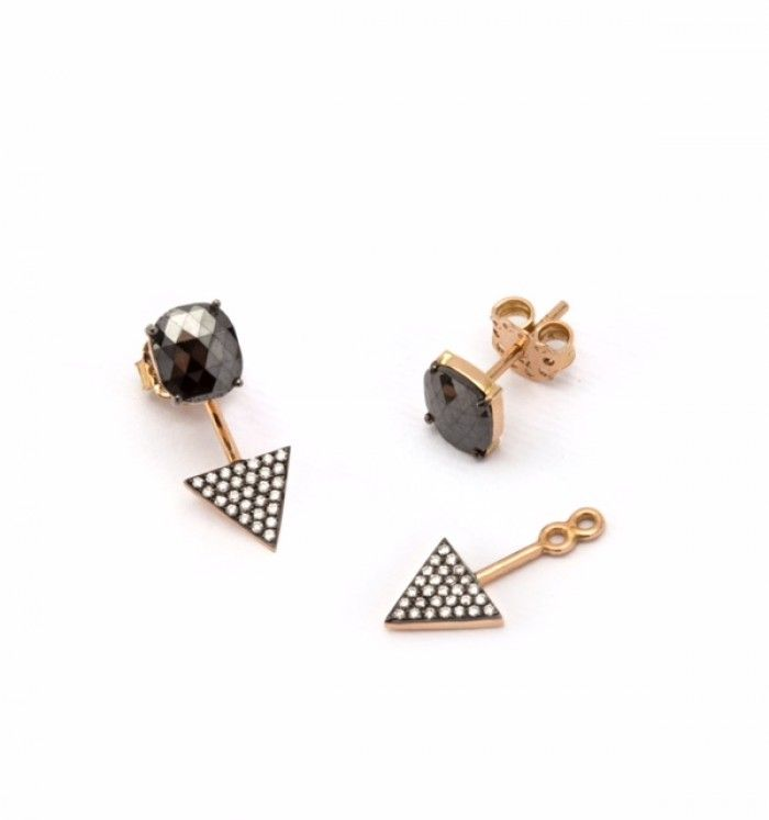 rose gold double duty earrings with rose cut black diamond studs and  brilliant cut colorless diamond triangle extensions Dimensions  (LengthxWidth cm) : x