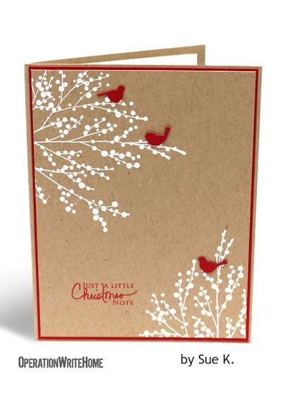 handmade card ... kraft base ... whiite staped berry branches ... red mat, ink and die cut birds ...