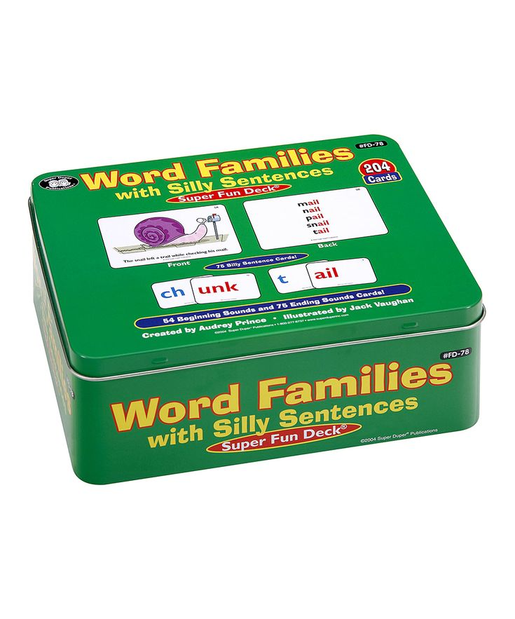 Silly Sentences Word Families Super Fun Card Set