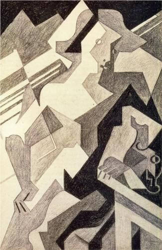 Juan Gris (1887 - 1927) | Synthetic Cubism | Harlequin at Table - 1918