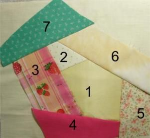 Piecing a Crazy Quilt Block; using the stitch and flip technique