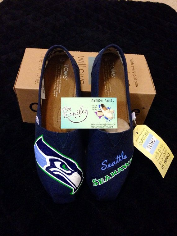 These custom TOMS feature the logo and team name of the best football team in the NFL!! Thats right, get ready for the upcoming season with seahawk