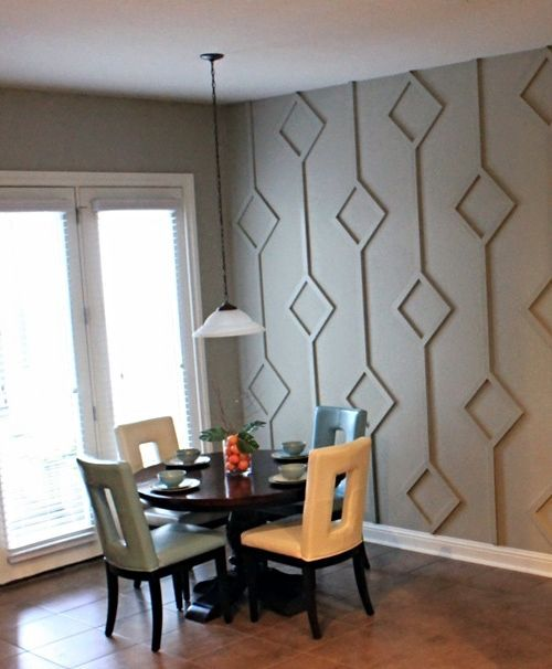 Think outside the box when considering an accent wall. Try this 3-D treatment for a unique focal point.